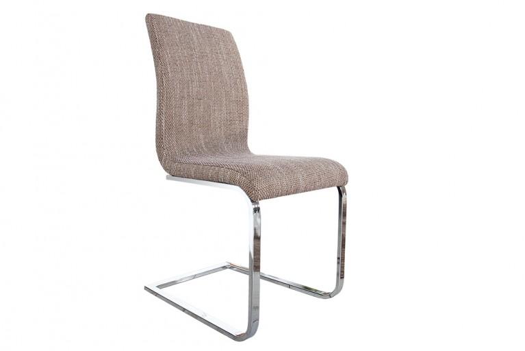 Eleganter Design Freischwinger HAMPTON Stuhl Strukturstoff coffee