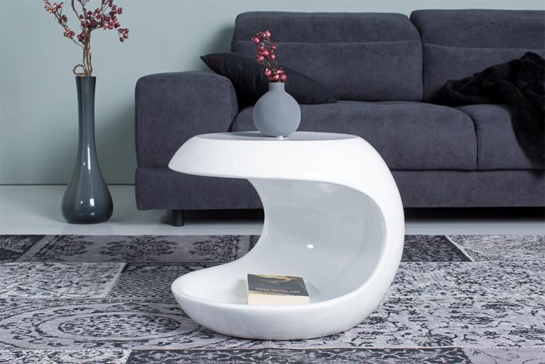 Moderner design couchtisch spin ii 75cm hochglanz wei for Design couchtisch organic ii hochglanz weiss tisch beistelltisch retro lounge