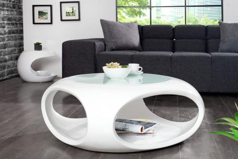 Moderner Design Couchtisch SPIN II 75cm Hochglanz Weiß