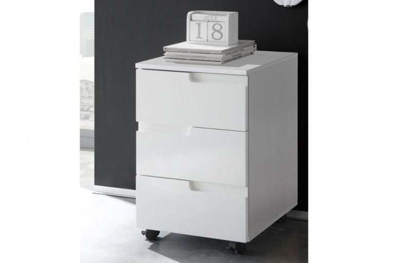 Design Rollcontainer CLUB weiß 60cm High Gloss