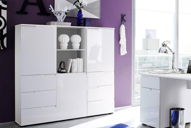 Design Schrank CLUB 145 cm weiß High Gloss Schrankelement