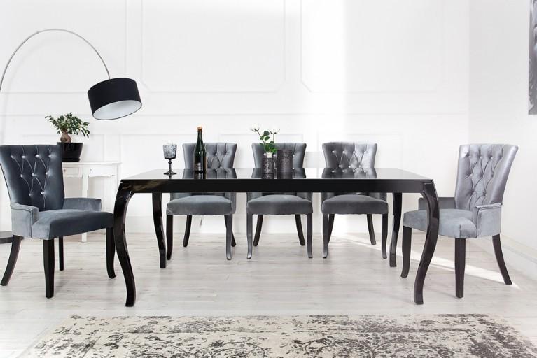 Stylischer Design Esstisch BAROCCO schwarz hochglanz 200cm