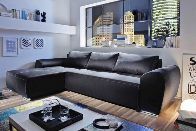 ecksofa melbourne anthrazit 290cm mit g stebettfunktion. Black Bedroom Furniture Sets. Home Design Ideas