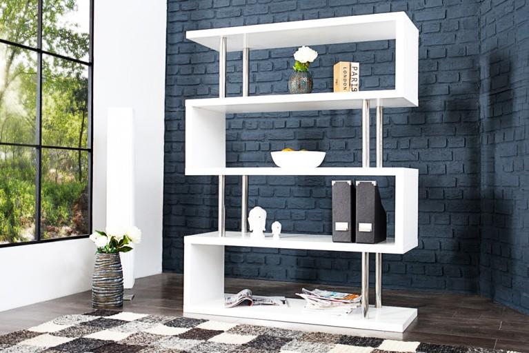 Exklusives Bücherregal SNAKE weiß Hochglanz 160cm mit Edelstahl Applikationen
