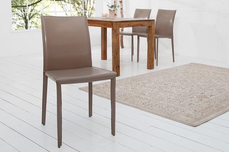 Exklusiver Design Stuhl MILANO ECHT LEDER grau greige
