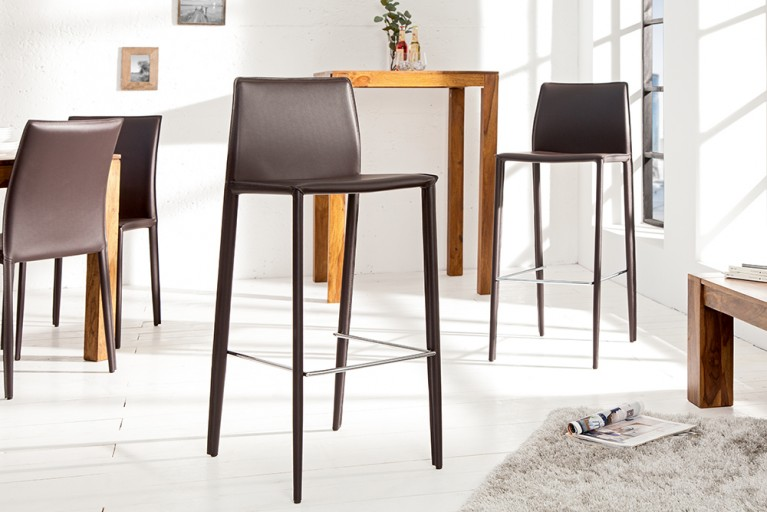 Exklusiver Design Barstuhl MILANO ECHT LEDER coffee