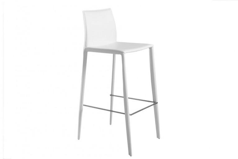 Exklusiver Design Barstuhl MILANO ECHT LEDER weiß