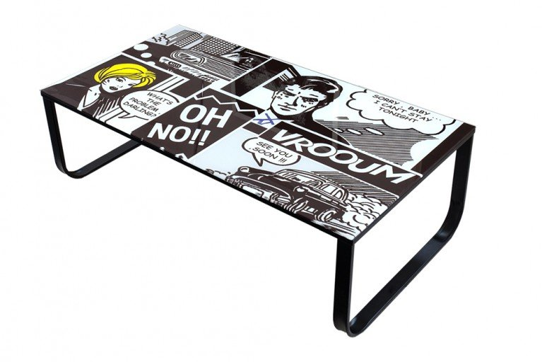Stylischer Couchtisch POP ART Retro Comic 105cm