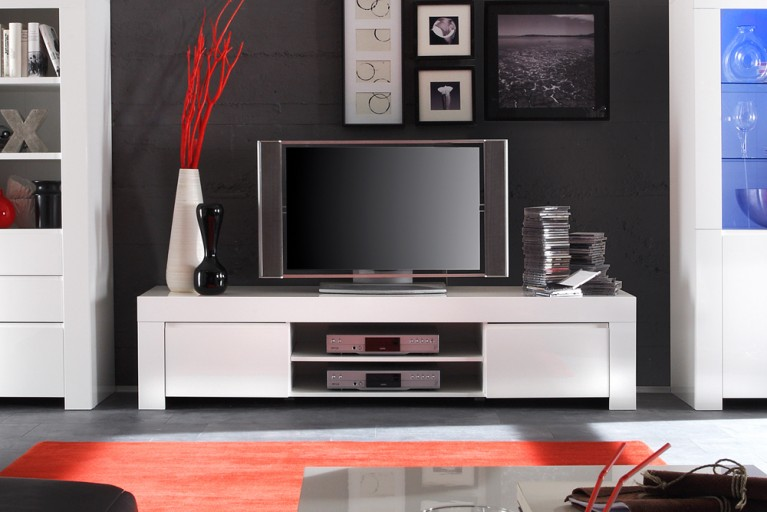 Exklusives Design Lowboard AMALFI weiß Highgloss TV-Board made in Italy