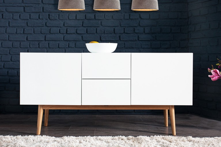 Design Sideboard LISBOA weiß 150cm auf einem Eichengestell
