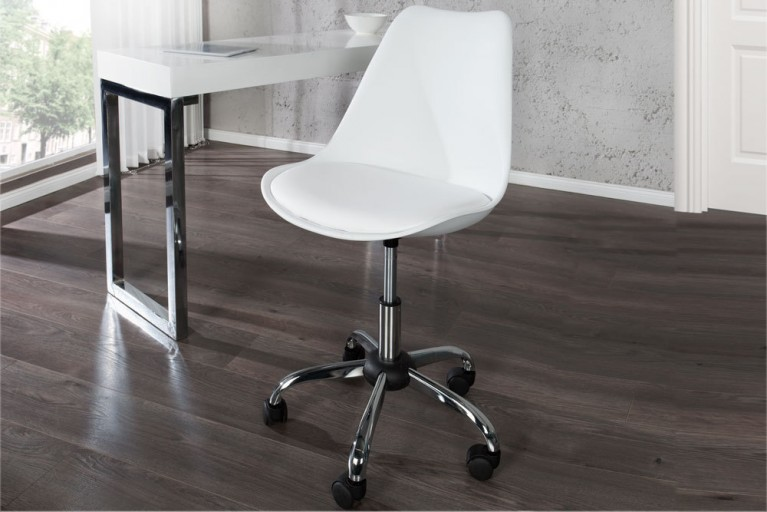 Retro Designklassiker Bürostuhl SCANIA MEISTERSTÜCK weiß Stuhl mit drehbarem Kreuzgestell aus Chrom