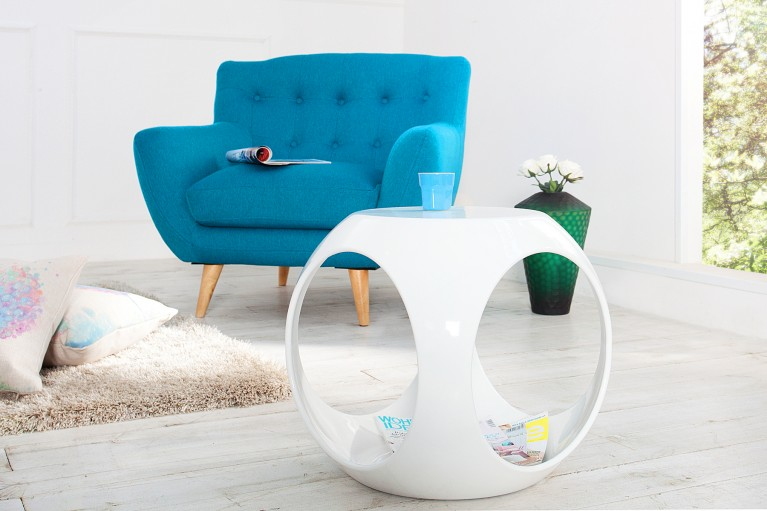 Design Retro Sitzhocker CHILL OUT weiß Hochglanz im Spaceage Design Beistelltisch