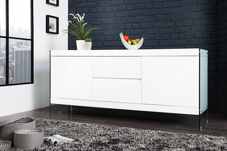design sideboard lisboa wei 150cm mit eiche f en riess. Black Bedroom Furniture Sets. Home Design Ideas
