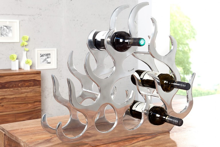 Design Weinregal FLAME XL 60cm Metall-Aluminium Legierung für 10 Flaschen Accessoire