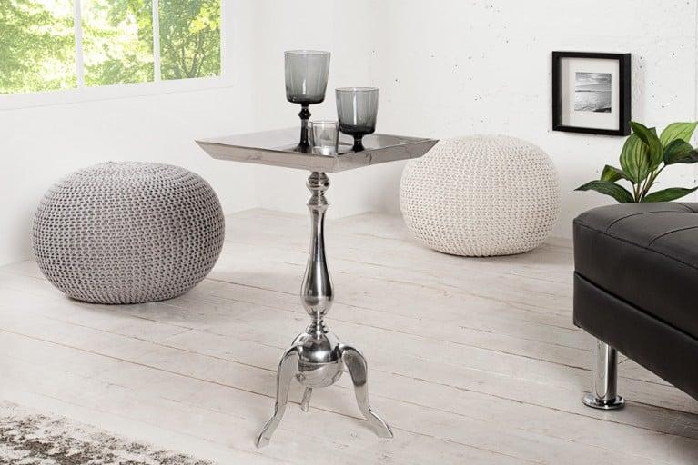 Stylischer Design Tablett Tisch TRAYFUL 55cm Beistelltisch Alu silberfarbig