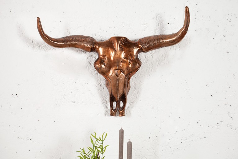 Stylischer Deko Schädel MATADOR 55cm Longhorn Skull Alu kupferfarbig