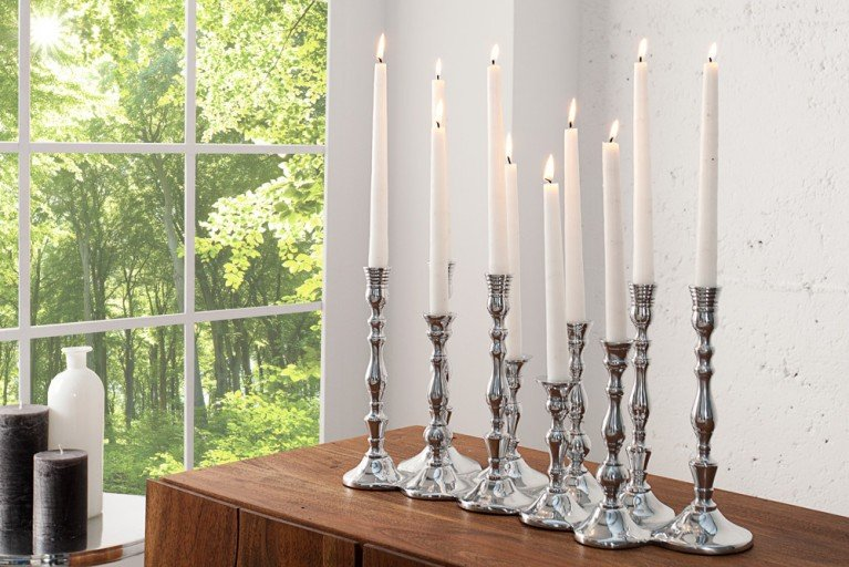Design Deko-Platte 10-flammig Kerzenständer Lüster Metall-Aluminium Legierung poliert Kerzenhalter