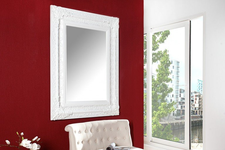 Exklusiver Spiegel Barock CLERMONT weiß 130x100cm