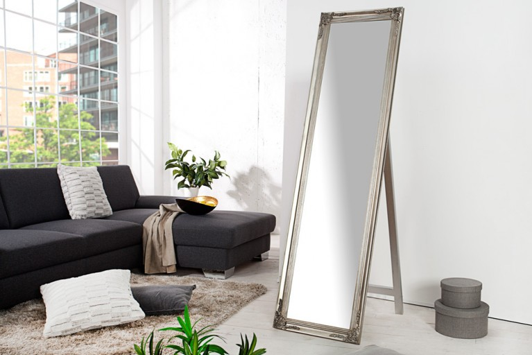Design Barock Standspiegel VERSAILLES silber 160x45cm