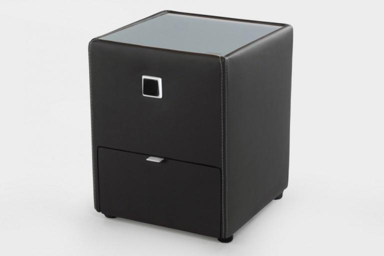 Design Nachtkommode ALEXANDRIA schwarz mit Schublade indirekte Beleuchtung