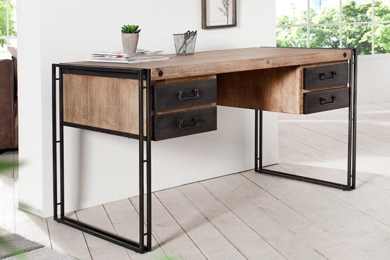 Massiver Schreibtisch FACTORY 135cm mit 4 Schubladen Akazie teakgrau weiß gekälkt mit Metall Applikationen