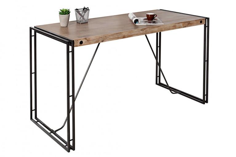 Massiver Schreibtisch FACTORY 130cm Akazie teakgrau weiß gekälkt mit Metall Applikationen