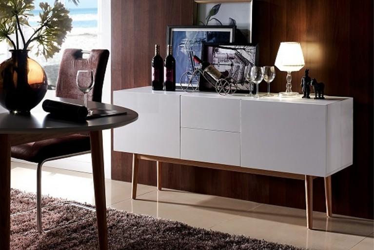 Edles Sideboard OSLO weiß 150cm Eichenholz skandinavische Design Kommode