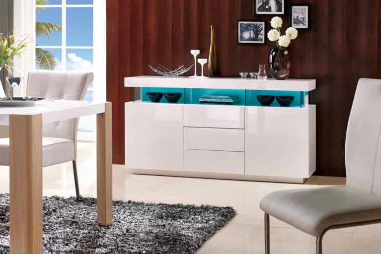 Modernes Sideboard AMBIENCE Hochglanz weiß 160cm mit LED Beleuchtung