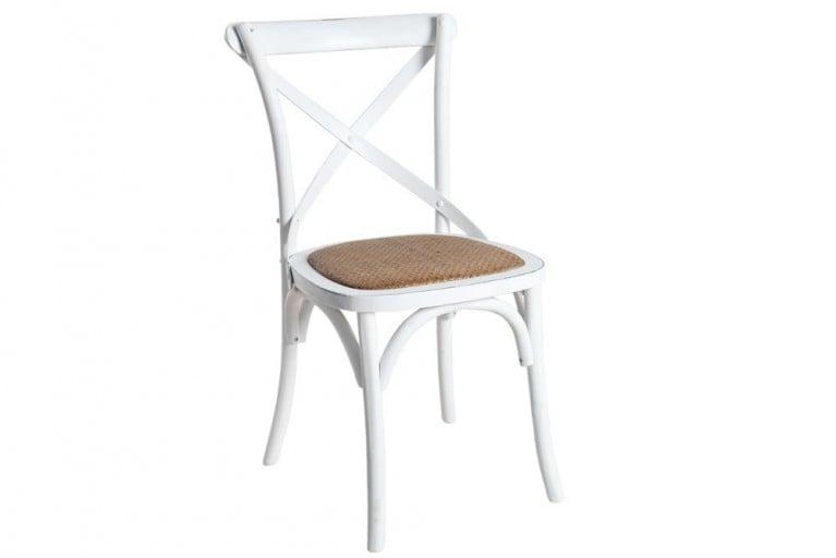 Hochwertiger Massiver Eiche Stuhl MAISON DE PLAISANCE Retro weiß