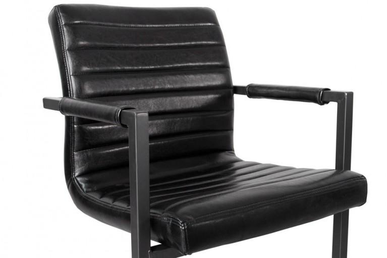 Freischwinger Stuhl PARZIVAL antik schwarz mit Armlehne Schwingstuhl