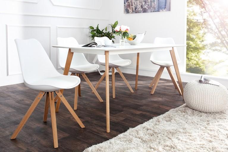 Stuhl SCANDINAVIA MEISTERSTÜCK Massivholzbeine Weiß im Retro Trend