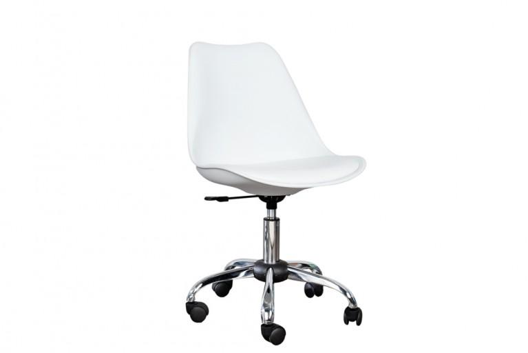 Retro Designklassiker Bürostuhl SCANDINAVIA MEISTERSTÜCK weiß Stuhl mit Rollen