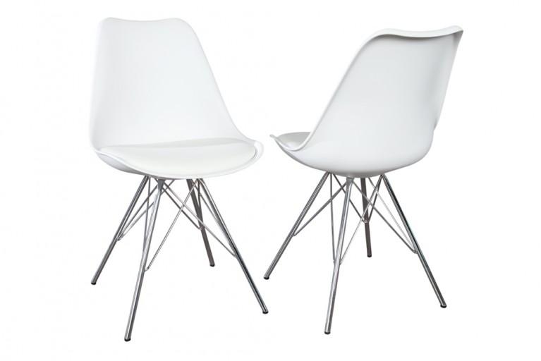Retro Designklassiker Stuhl SCANIA MEISTERSTÜCK weiß mit Stuhlbeinen aus Chrom