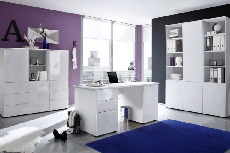 Bürokombination SPICE II 7tlg. mit Hochglanzfront weiß zwei Schrankkombinationen und Schreibtisch 160cm