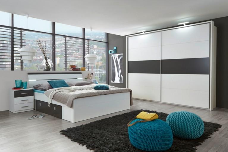 Exklusive Schlafzimmerkombination SOHO 4tlg. weiß lava Bett mit Nachtkommoden und Kleiderschrank