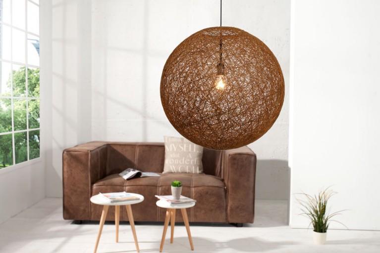 Stylische Hängeleuchte COCOON L in natur-braun 45cm Lampe