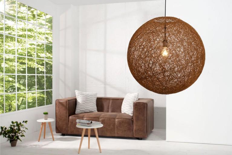 Stylische Hängeleuchte COCOON XL in natur-braun 60cm Lampe
