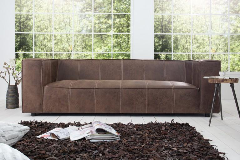 Design 3er Sofa GAUCHO in coffee mit Ziernähten