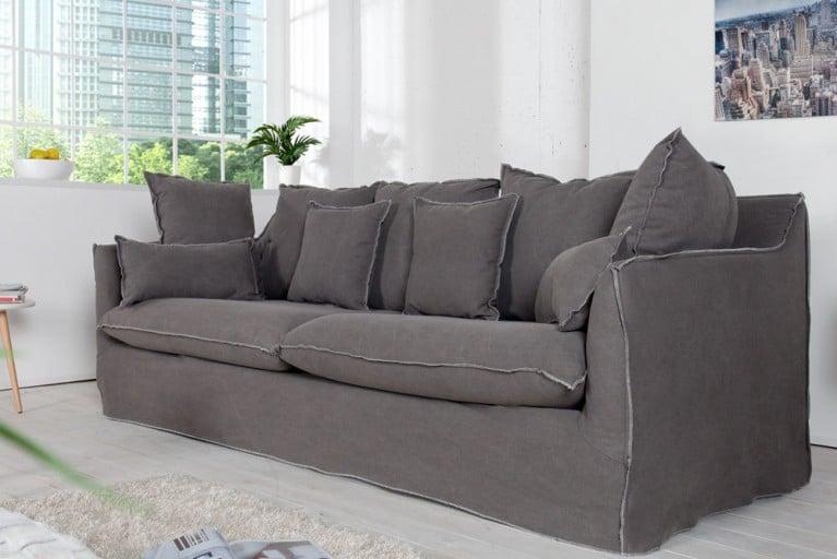 Großes Hussensofa HEAVEN 215cm stone washed grau Baumwollstoff 3er Sofa