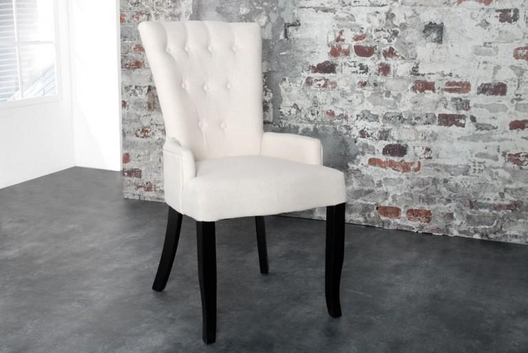 Design Stuhl BOUTIQUE mit Armlehne Leinenstoff beige