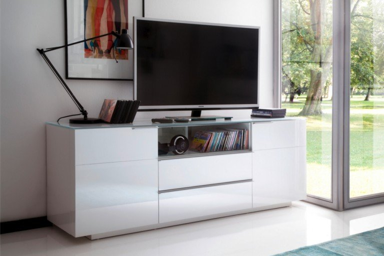 Media-TV-Board CANBERRA ORIGINAL MCA Hochglanz weiß 165cm Sideboard mit Glasplatte