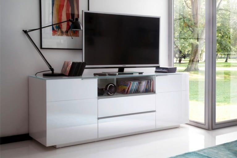 Media-TV-Board CANBERRA ORIGINAL MCA Hochglanz weiß 165cm Sideboard mit Glasplatte
