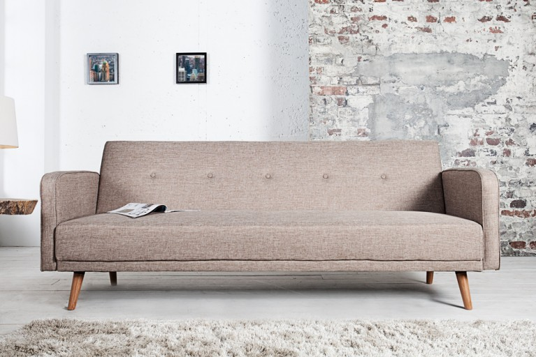 Design Schlafsofa SCANDINAVIA beige mit hochwertigem Aufbau in 210cm