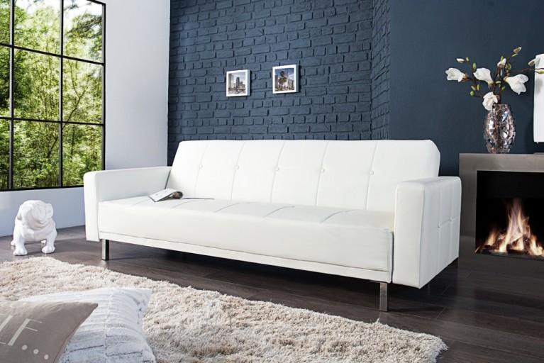 Design Schlafsofa MANHATTAN weiß mit hochwertigem Aufbau in 215cm