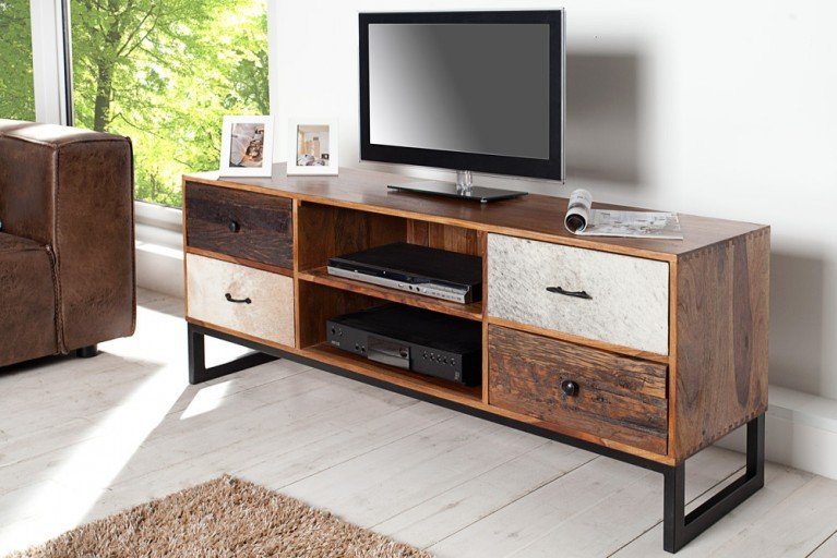 Design TV Board NATURE PATCHWORK Sheesham echtes Kuhfell