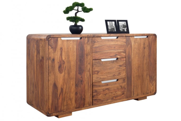 Massives Sideboard CUBE 145cm Sheesham Stone Finish Board Anrichte