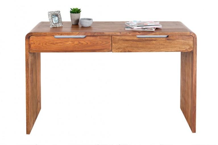Design Schreibtisch CUBE 120cm Sheesham Stone Finish 2 Schubladen Konsolen Bürotisch