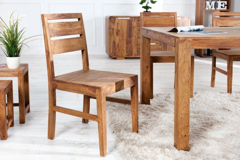 Massiver Stuhl PURE Sheesham  Massivholz natürliche Eleganz und Maserung