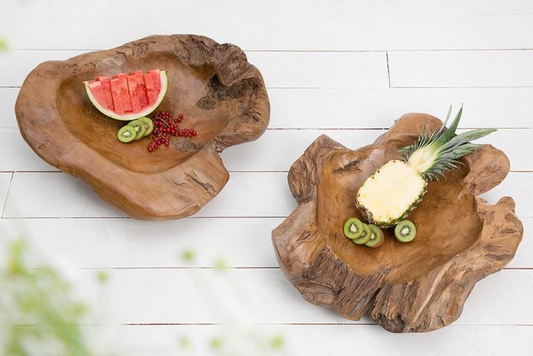 Exklusive XXL Teakholzschale ROOT TRAY 65cm aus massivem Teak Holz poliert naturfarben Wurzelholz Schale