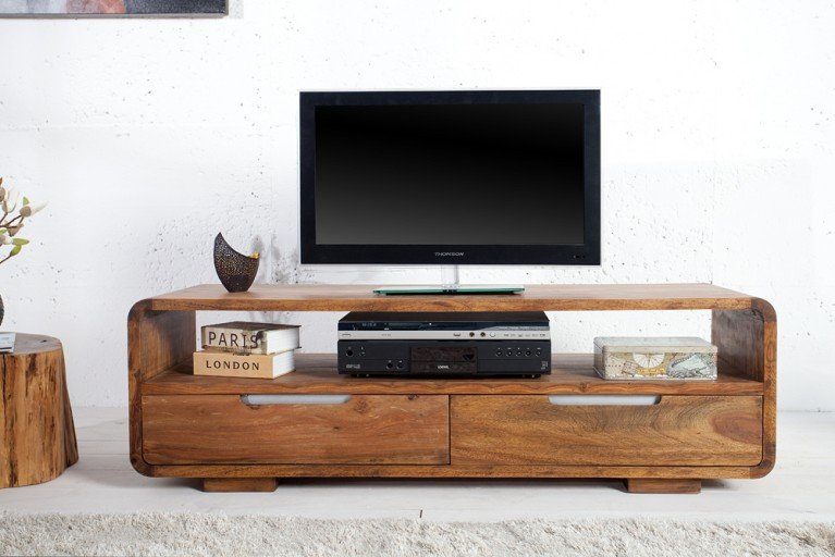 Massives Design TV-Lowboard CUBE Palisander Sheesham 130cm 2 Schubladen